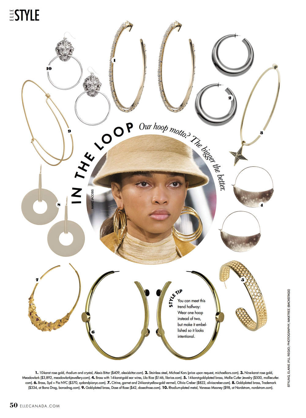 ELLE CANADA  SEPTEMBER 2017 |  HONEYCOMB HOOPS