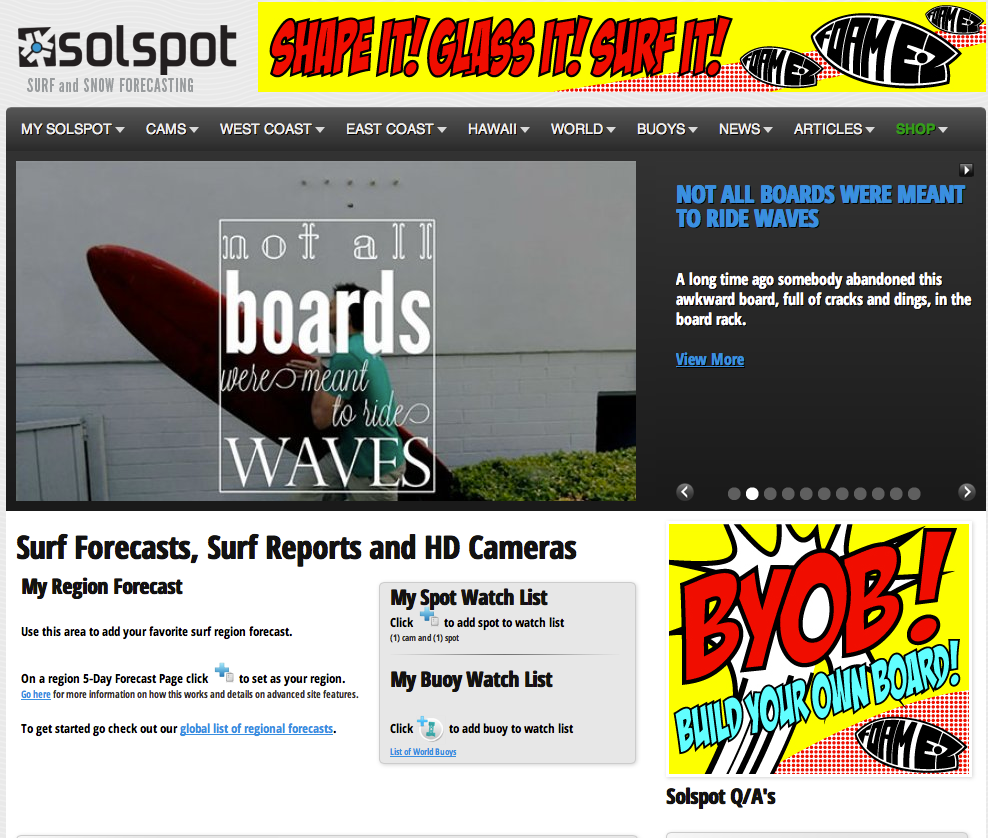 Solspot / Surf Forecasting Website