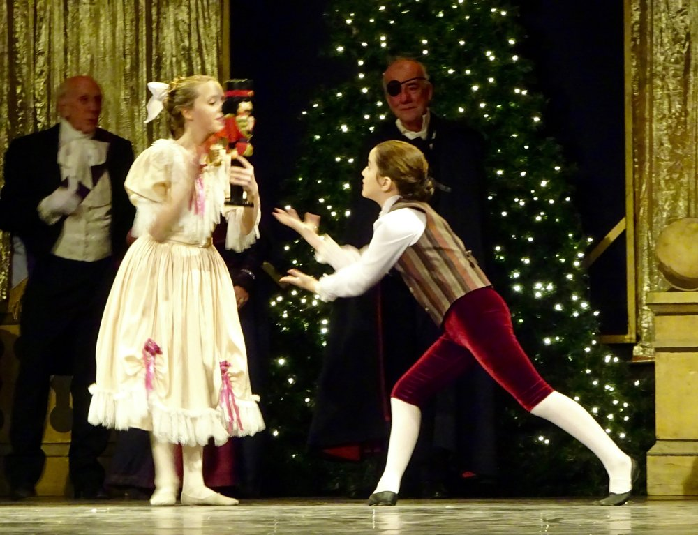 Claire Low as Clara and Virginia Keogh as Fritz. Nutcracker 2016