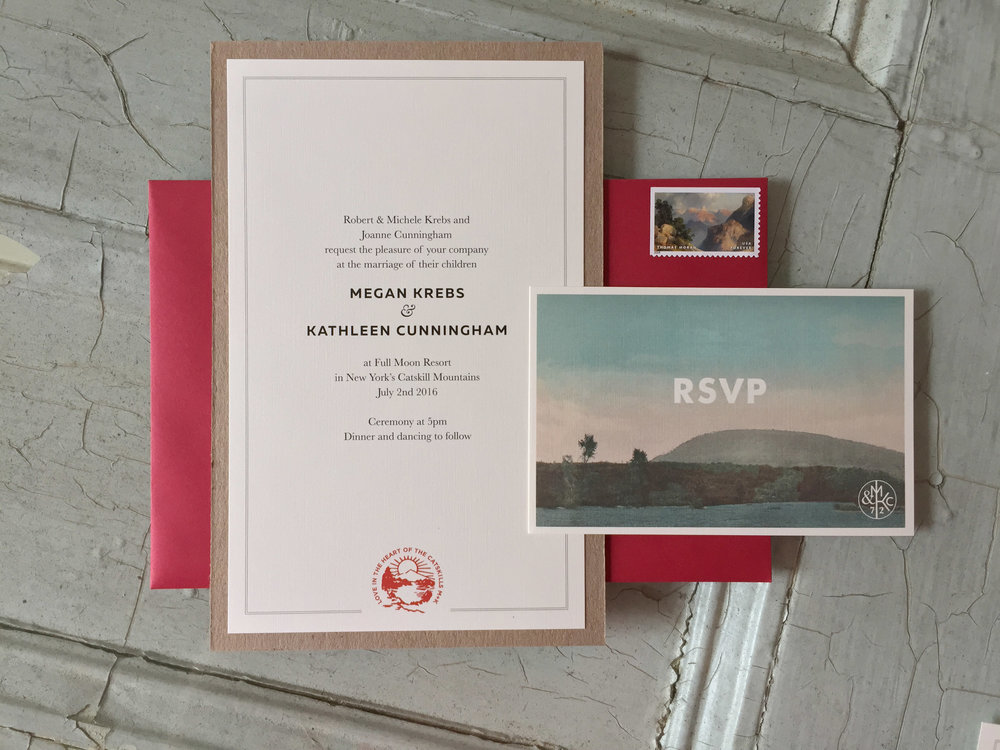 a few pieces of the invitation suite shown here rubber stamped