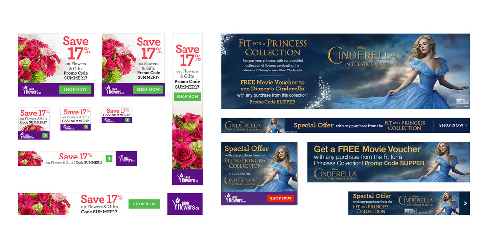 Examples of banner work, both promotional and partnership based.
