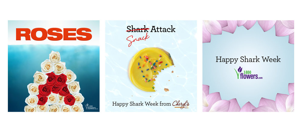 Examples of social content for 1-800-Flowers to celebrate Shark Week.