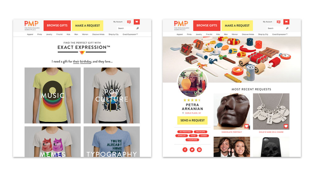 The site functions as an on-demand creative platform for freelance artists. These visuals show examples of a collection and profile page.
