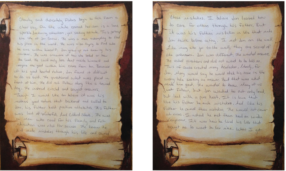 A fictional eulogy written by a participant about the death of Jon Snow. The eulogies were extremely personal and each of the participants remarked about how much they helped them to think about the characters they liked and why they were so drawn to them and the overall story.