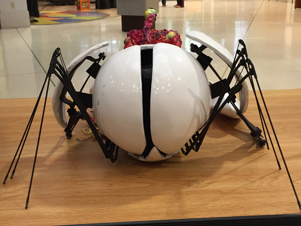 The robot was designed and built to evoke a living creature. This view of the back showcases its 'legs' and its egg-like shape.