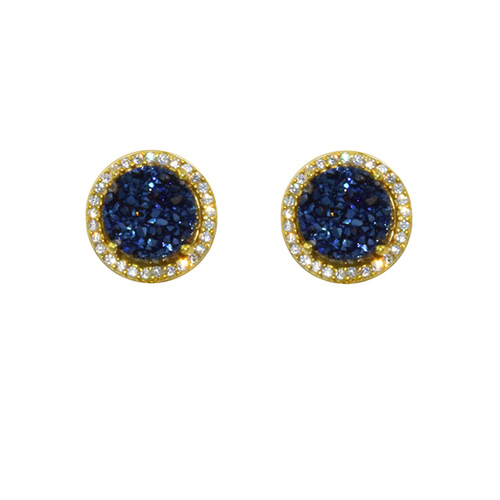 gold tiny product earrings amethyst stud new druzy round plated drusy detail