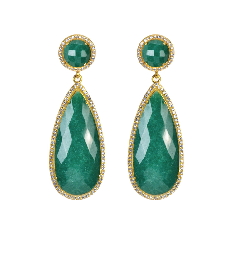 ny drop diamond green stars earrings agate product