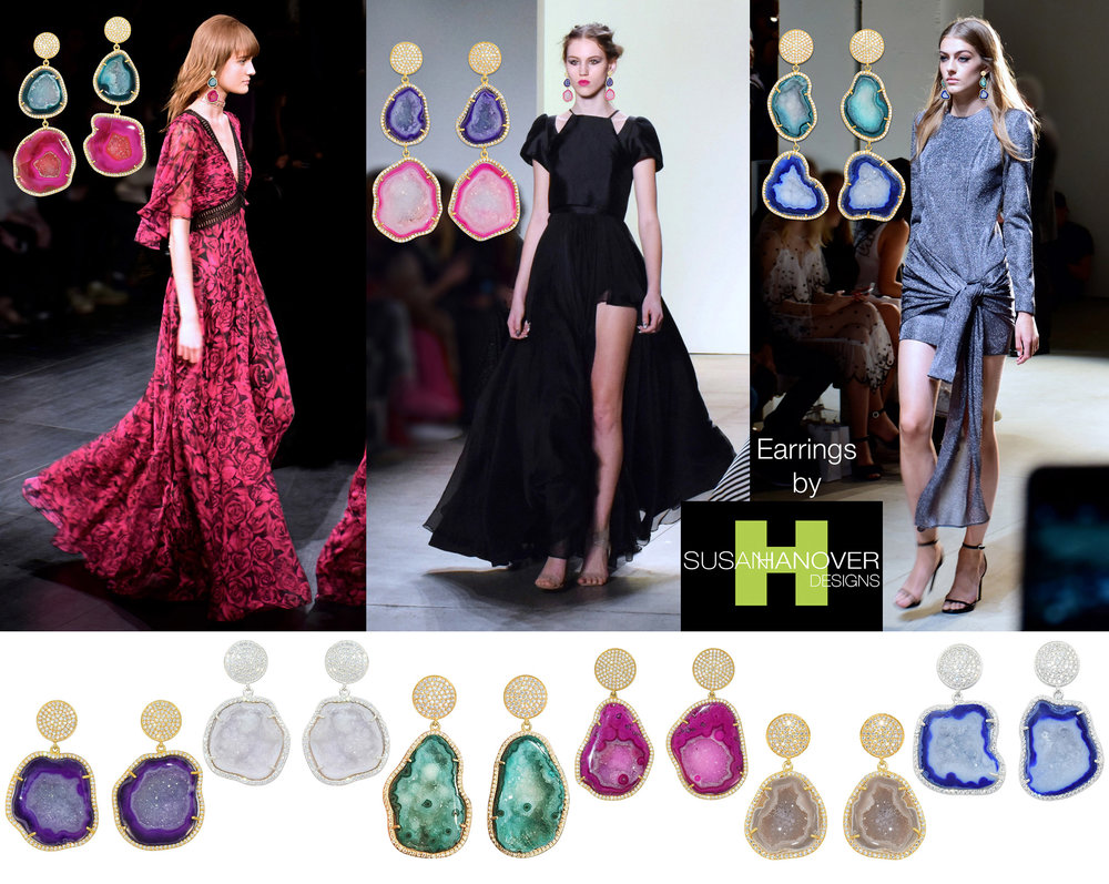 Geode earrings... in colors to Complement all your favorite runway looks.  SHOP GEODE EARRINGS