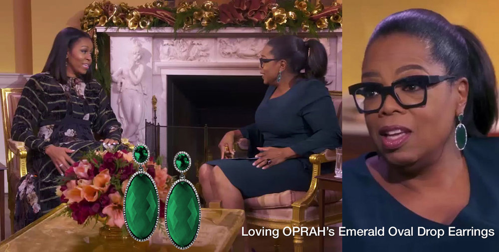 Oprah Interviews First Lady Michelle Obama ( Video Link) , Dec 2016. Shop   Emerald Oval Drop Earrings   Similar To Oprah's.