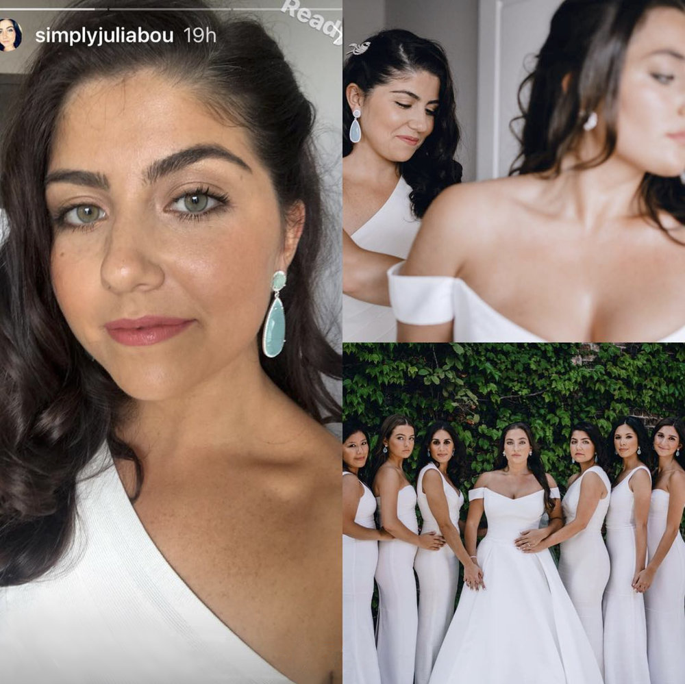 Something Blue - All the bridesmaids at Maya's wedding wore Susan's opal blue drop earrings. Photos by sister Julia, summer 2018.