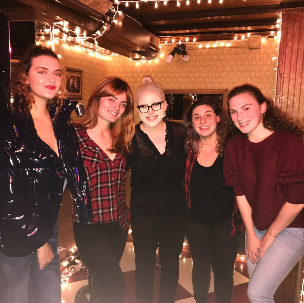 December, 2017! (from left to right) Reina Rouzaud, Nancy Pop, Megan Stein, Alyson Goodman, Amanda Hudson