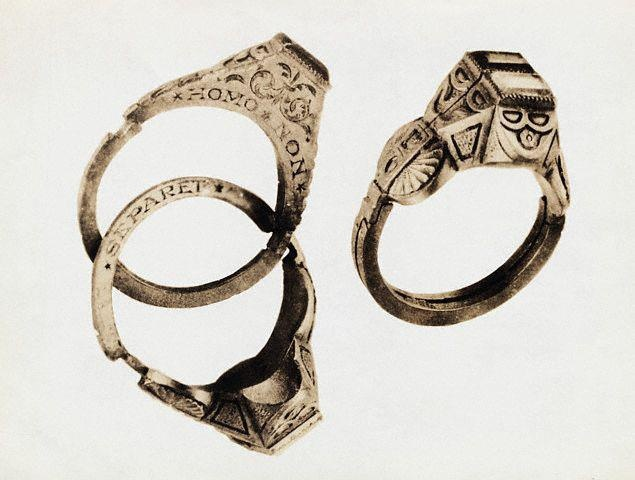 """indypendenthistory :     16th Century German wedding ring, double ring, with Latin inscription """"What God Hath Joined Together, Let No Man Put Asunder."""" (via   http://www.lookinart.tv/  )"""