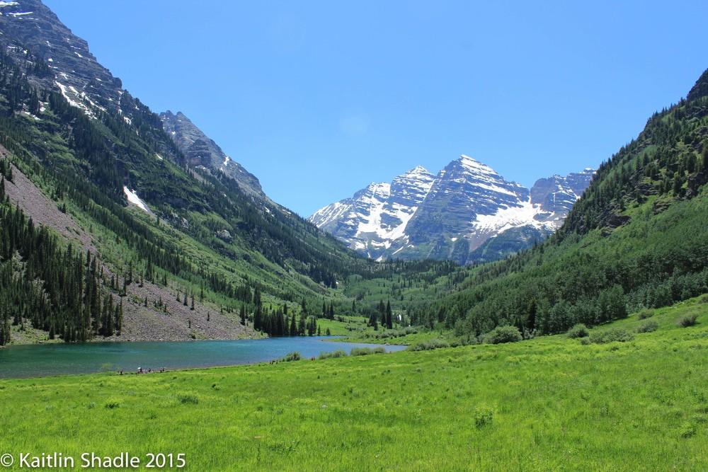 Field, Lake and Maroon Bells