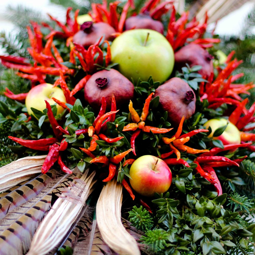 Wreath with Feathers & Chili Peppers