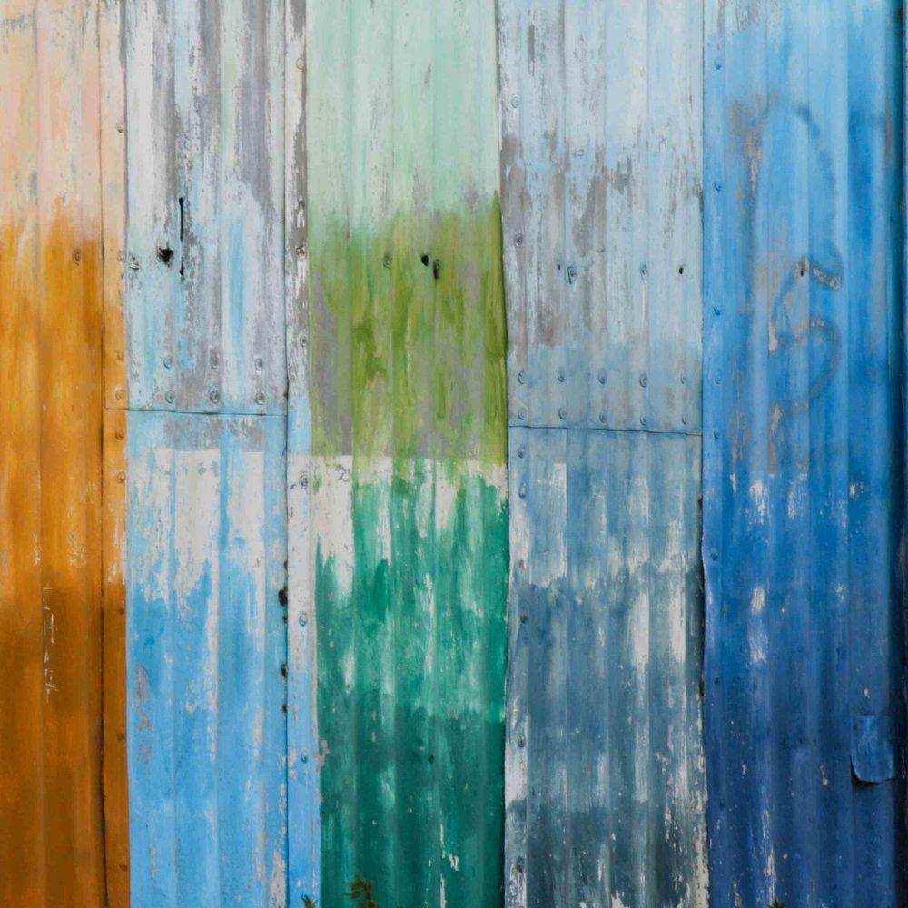 Patchwork Paint Orange and Blue