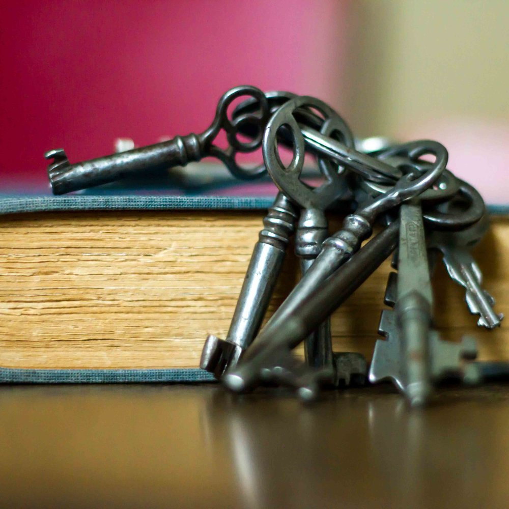 Antique Book and Keys Red