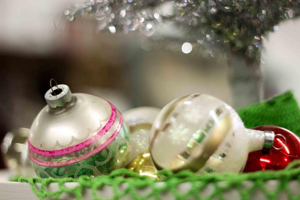 Christmas Balls and Silver Tree