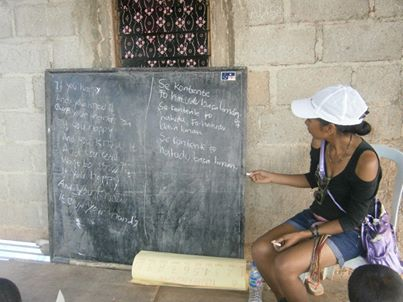 Juvita teaching English in Dili, Timor-Leste