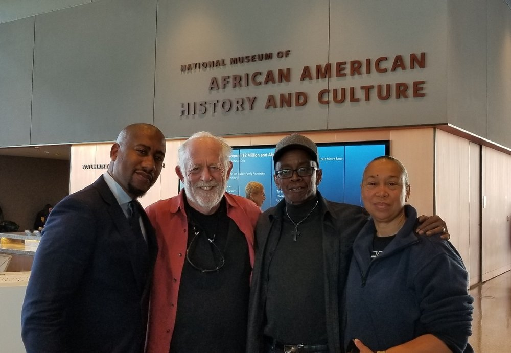 L-R Damion Thomas, Curator of Sports, National Museum of African American History and Culture, with Filmmaker Corr, Coach Bryant and wife Althea Bryant.