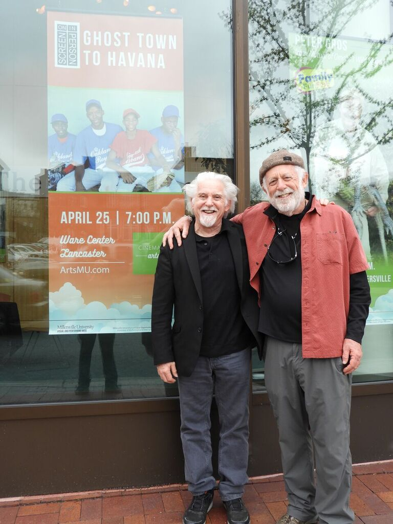 "Filmmaker Corr with promoter extraordinaire, Barry Kornhauser. Barry fills the Ware Center Theater in Lancaster with ""a Noah's Arc of Humanity"" audience for an extraordinary screening of Ghost Town to Havana."