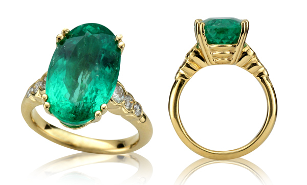 9.07ct Emerald, .40ct Diamond, 18K Yellow Setting
