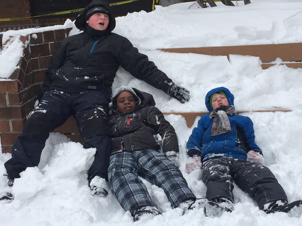 In hell's Kitchen we force Our kids to Play out in the snow. City Kids don't always know what to do?