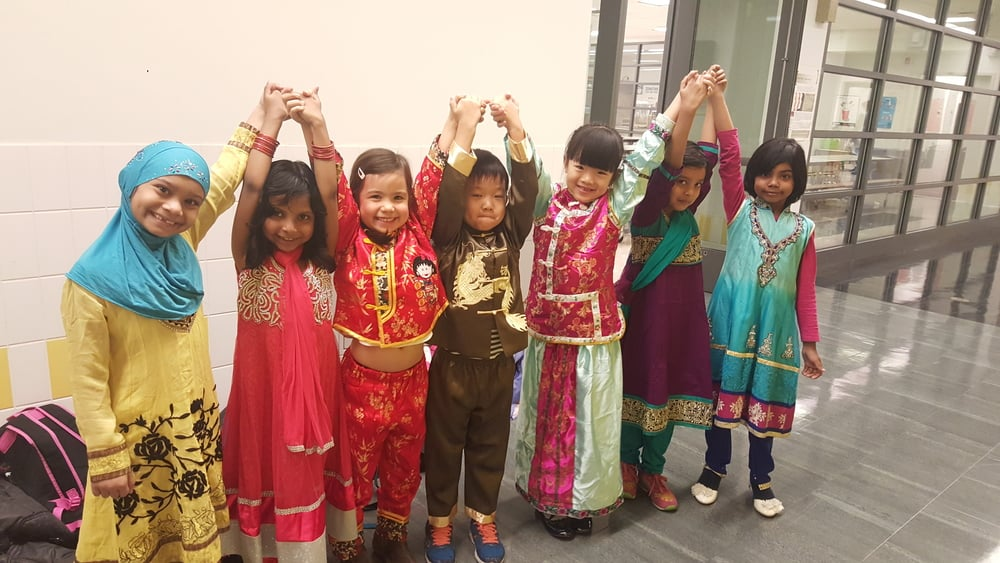 On culture day, students dress up to represent clothing from their home countries!