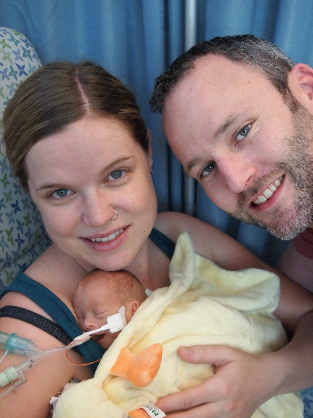 First family photo with Elliott (and first kangaroo care!).
