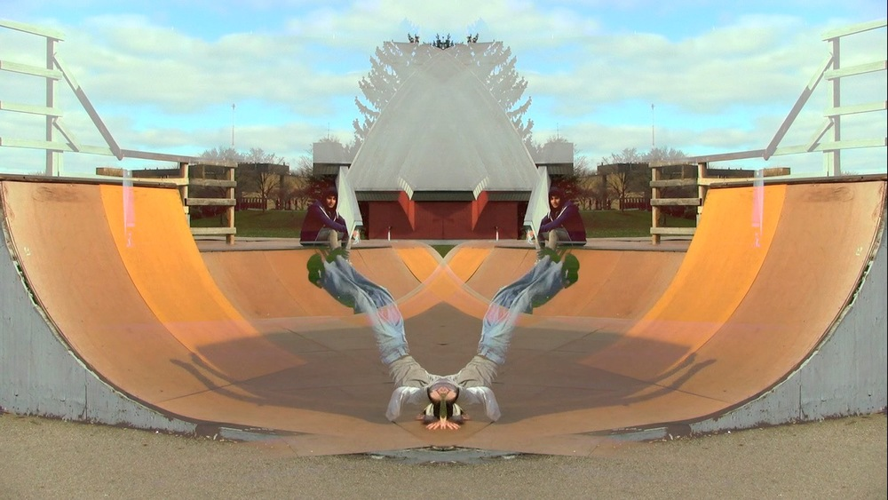 A kaleidoscope of dance and parkour on skate ramps. Running time: 4:22