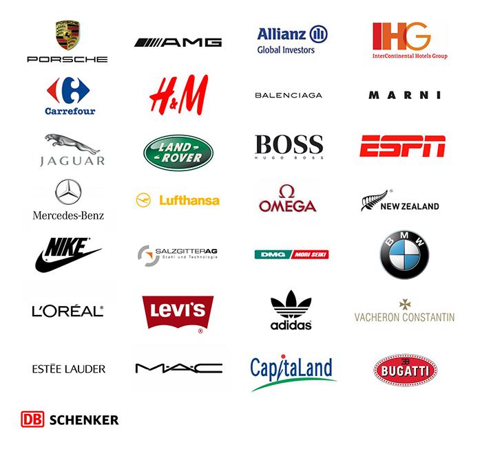 Porsche, AMG, Allianz, IHG, Carrefour, H&M, Balenciaga, Marni, Jaguar, Land Rover, Hugo Boss, ESPN, Mercedes-Benz, Lufthansa, Omega, New Zealand, Nike, Salzgitter AG, DMG, BMW, L'Oreal, Levi's, MAC, CapitalLand, Bugatti, DB Schenker