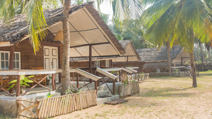 Enjoy eco friendly cabanas during kitesurfing in Kalpitiya