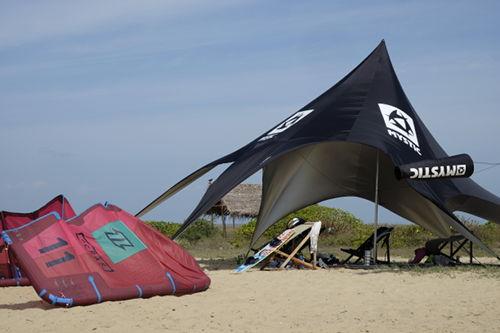 Mystic beach tent in use at the Vellai aka MAGIC spot in Sri Lanka