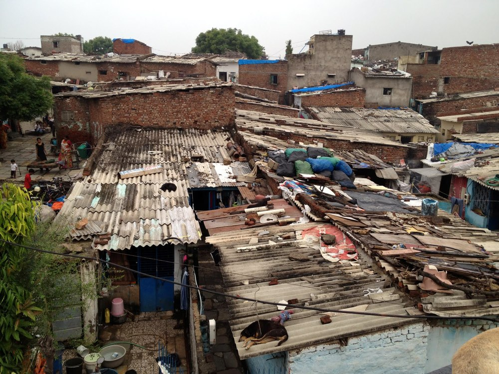 Typical roofing in urban slums, Ahmedabad India