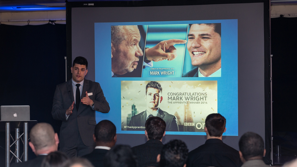Apprentice winner Mark Wright presenting at Sutton FC for Sutton Business Club