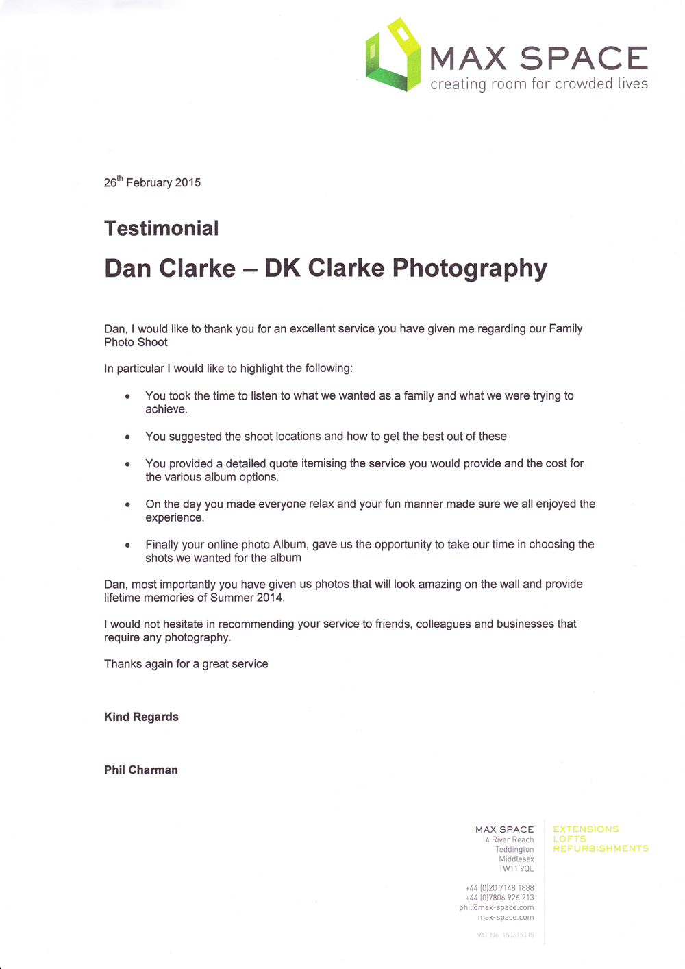 Family photography testimonial