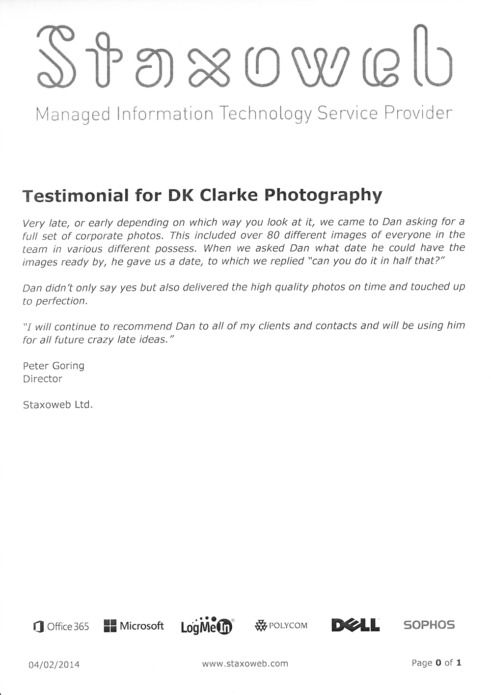 London business photography testimonial