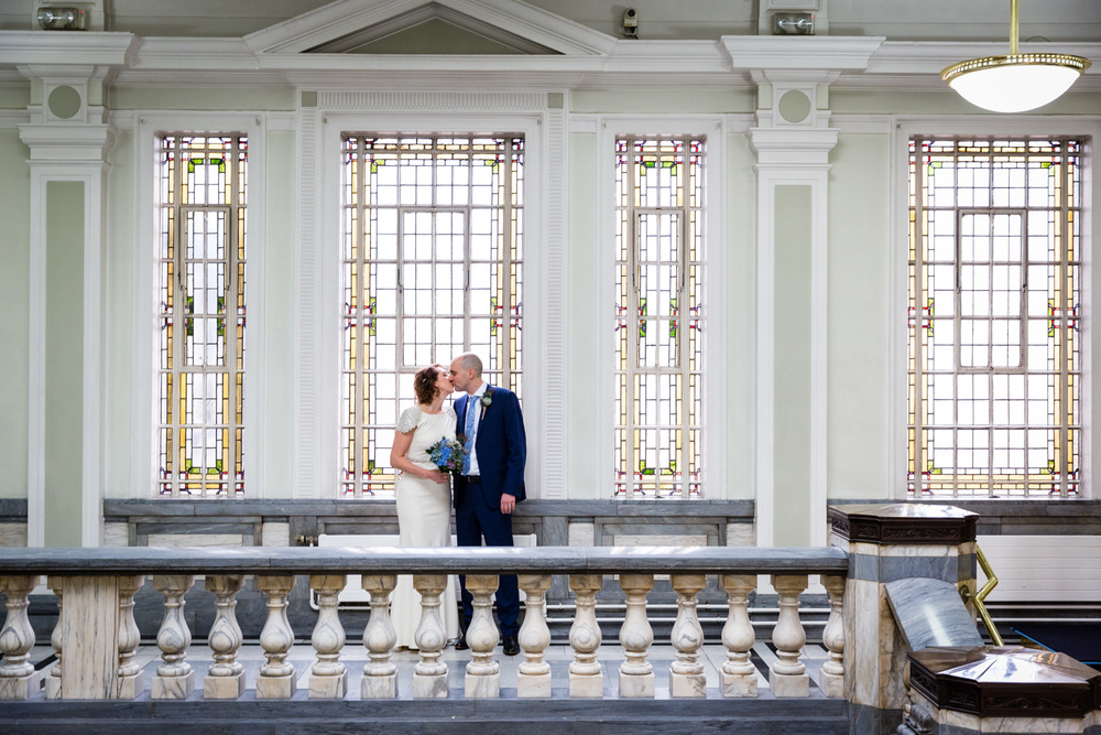 Bride and groom at Islington Town Hall