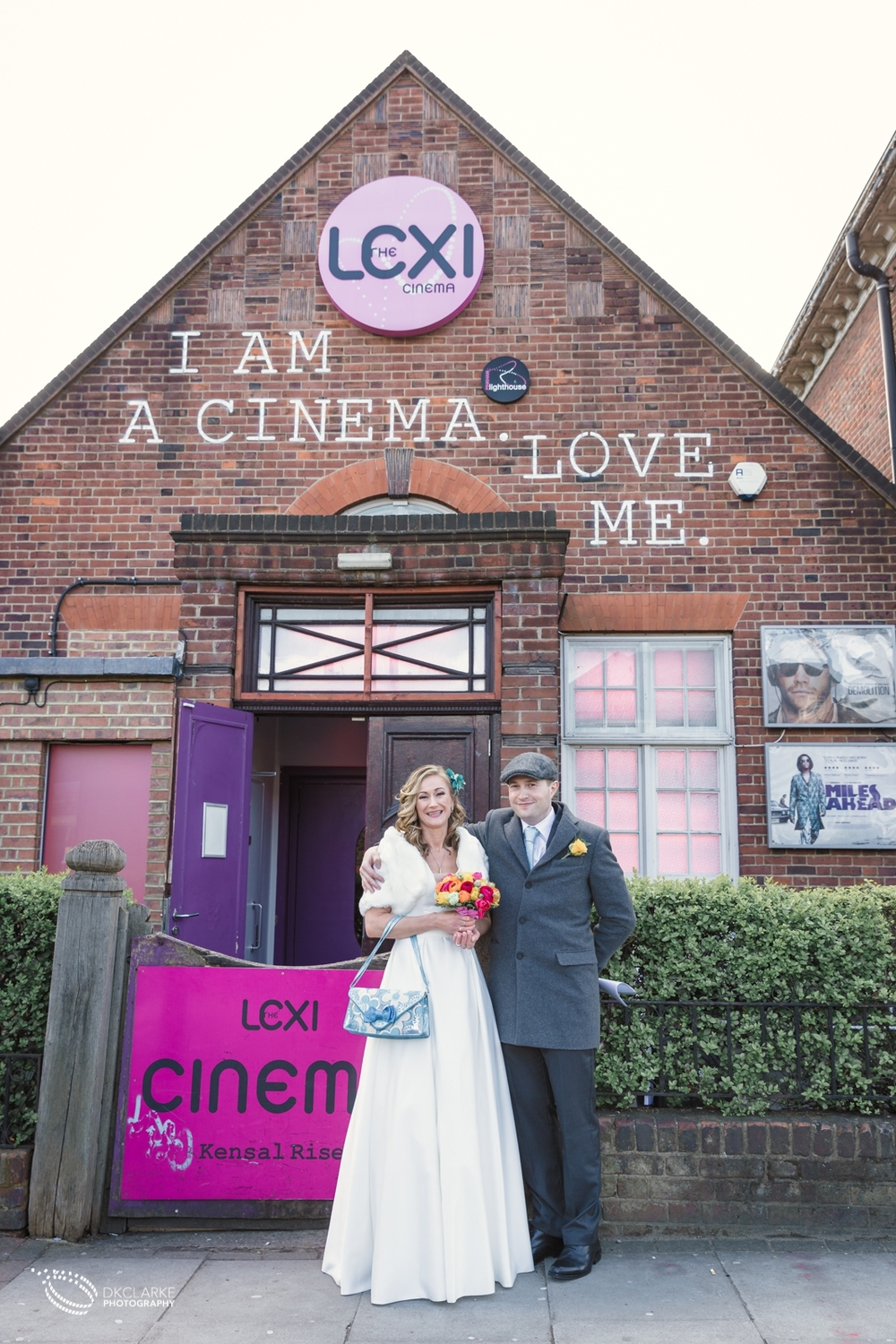 Wedding photography at a London cinema