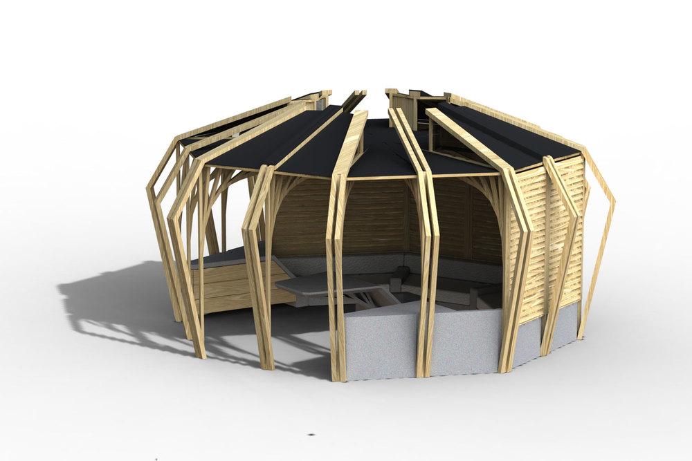 Octagon mathias de ferm for Octagon shaped house plans