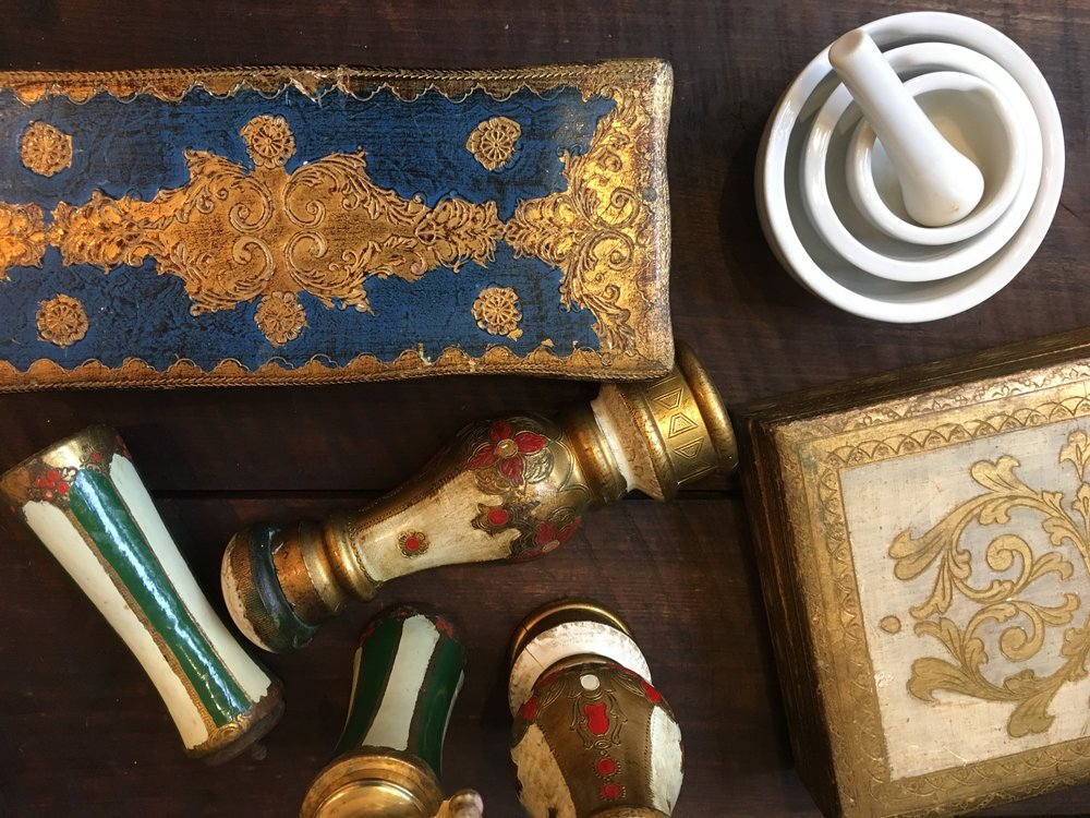 Vintage Florentine wood and gold gilt carved boxes and hard to find pepper mill and salt shakers