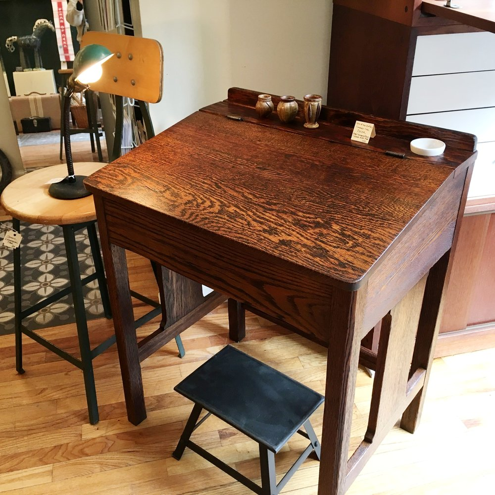 Late 19th C Smoked Oak Desk