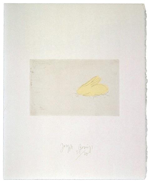 Zirkulationszeit: `junger Hase` .1982 . Radierung . handsigniert und nummeriert (75) . Schellmann 418 . Papier90 x 63cm.Druck 44,3 x 57,5 cm  2.500 Euro