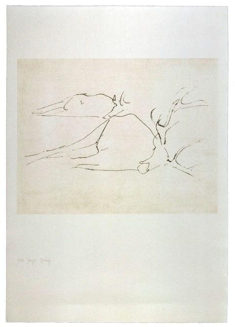 Zirkulationszeit: `Tote Hirsche` .1982 . Radierung . handsigniert und nummeriert (75) . Schellmann 418 . Papier90 x 63cm.Druck 44,3 x 57,5 cm  2.700 Euro