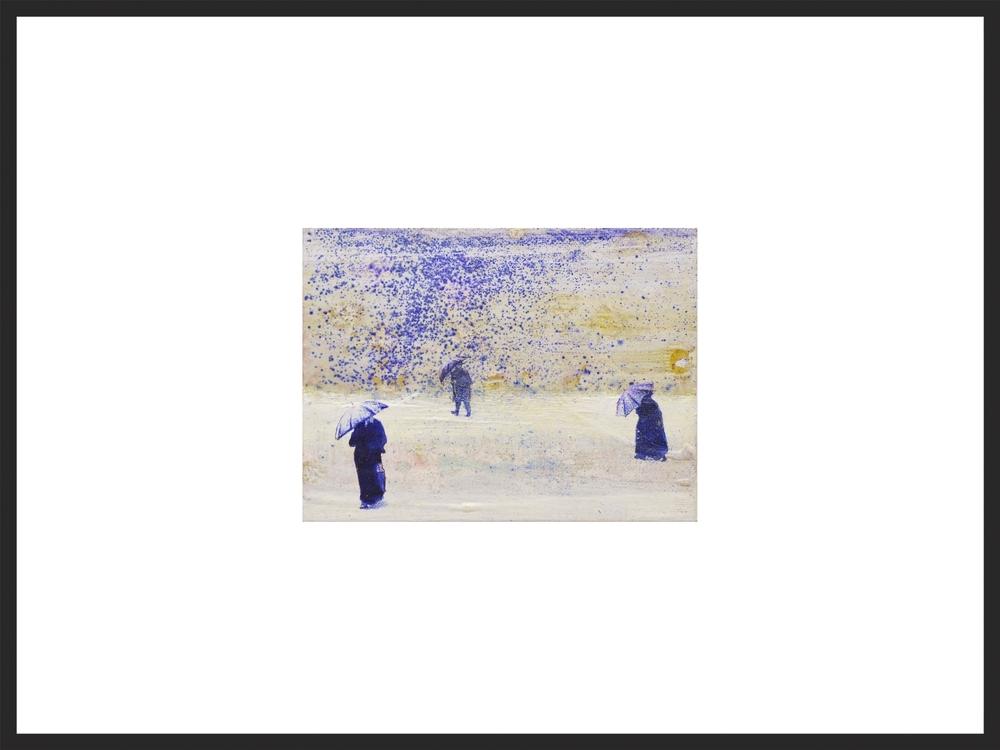 'Plötzlicher Schneeregen hat am Montagabend zu drei ...', Oel, Kopierstift und Kugelschreiber auf Hartfaser, 12 x 16 cm, 2015.jpg