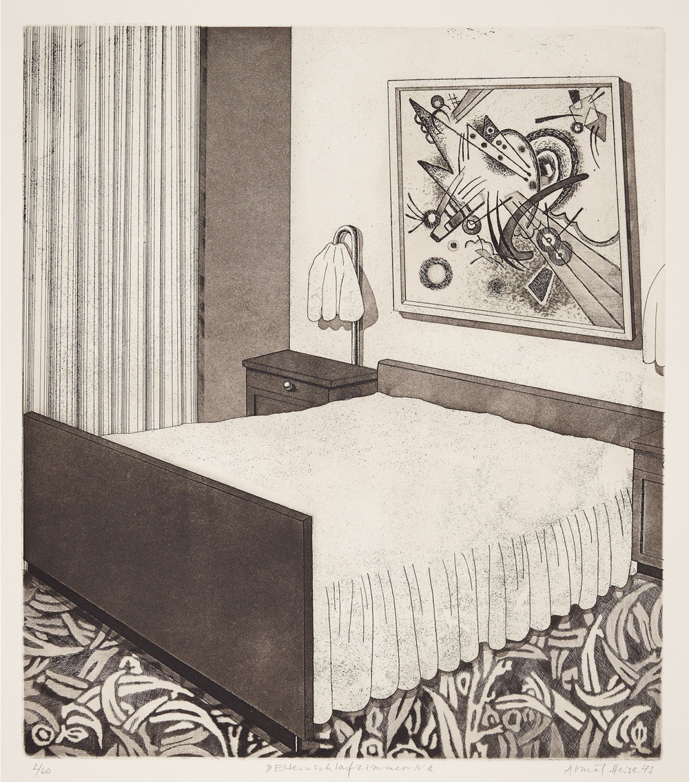 Almut Heise   Elternschlafzimmer IV .1973 Strichätzung, Aquatinta . 40 x 36 cm Auflage 60 . signiert und datiert  1.000 Euro   unverbindliche Anfrage