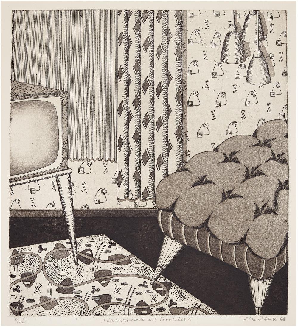 Almut Heise   Wohnzimmer mit Fernseher . 1968 Strichätzung, Aquatinta 40 x 36 cm EInzelstück .signiert und datiert  1.000 Euro   unverbindliche Anfrage