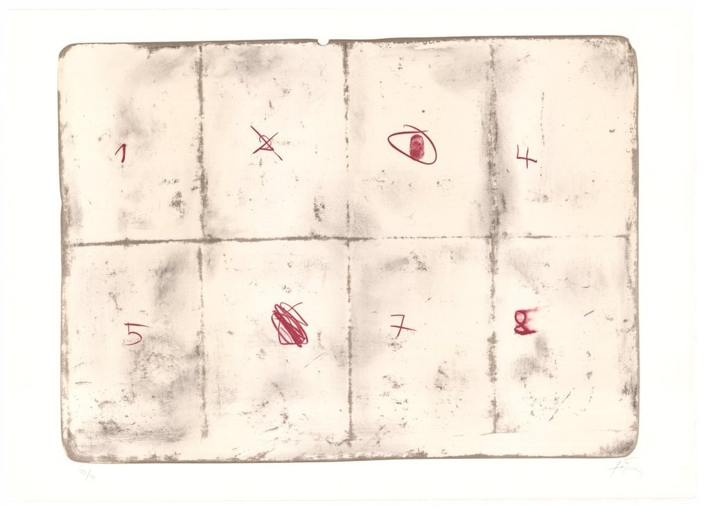 Antonie Tàpies   Toile pliée et chiffres . 1974 Farblithografie . Auflage 90 . 63 x 90 cm  2.800 Euro  unverbindliche Anfrage