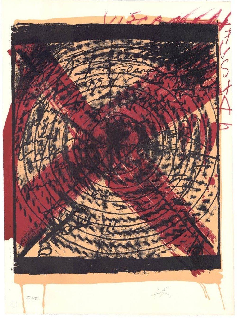Antonie Tàpies   Diana . 1973 Farblithografie . Auflage XX . 75 x 56 cm  2.200 Euro  unverbindliche Anfrage