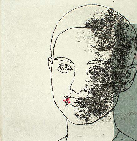 Nina Hotopp  Kopf II . 2012 .Radierung / Strichätzung mit Stempeldruck . 19,5 x 19,5 cm   180 Euro      unverbindliche Anfrage