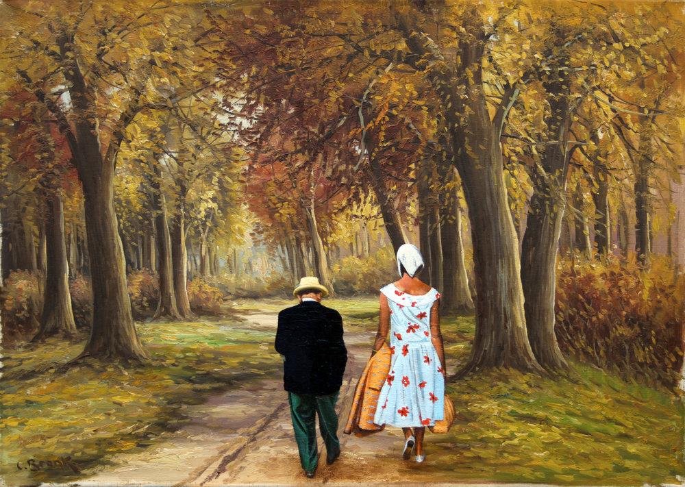 'Er kam in das Staunen gar nicht mehr rein', Oel auf Leinen, 50 x 70 cm, 2014